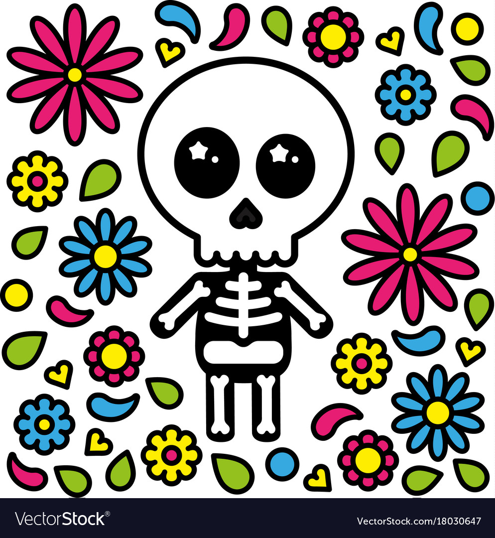 Cute skeleton character day of the dead flowers