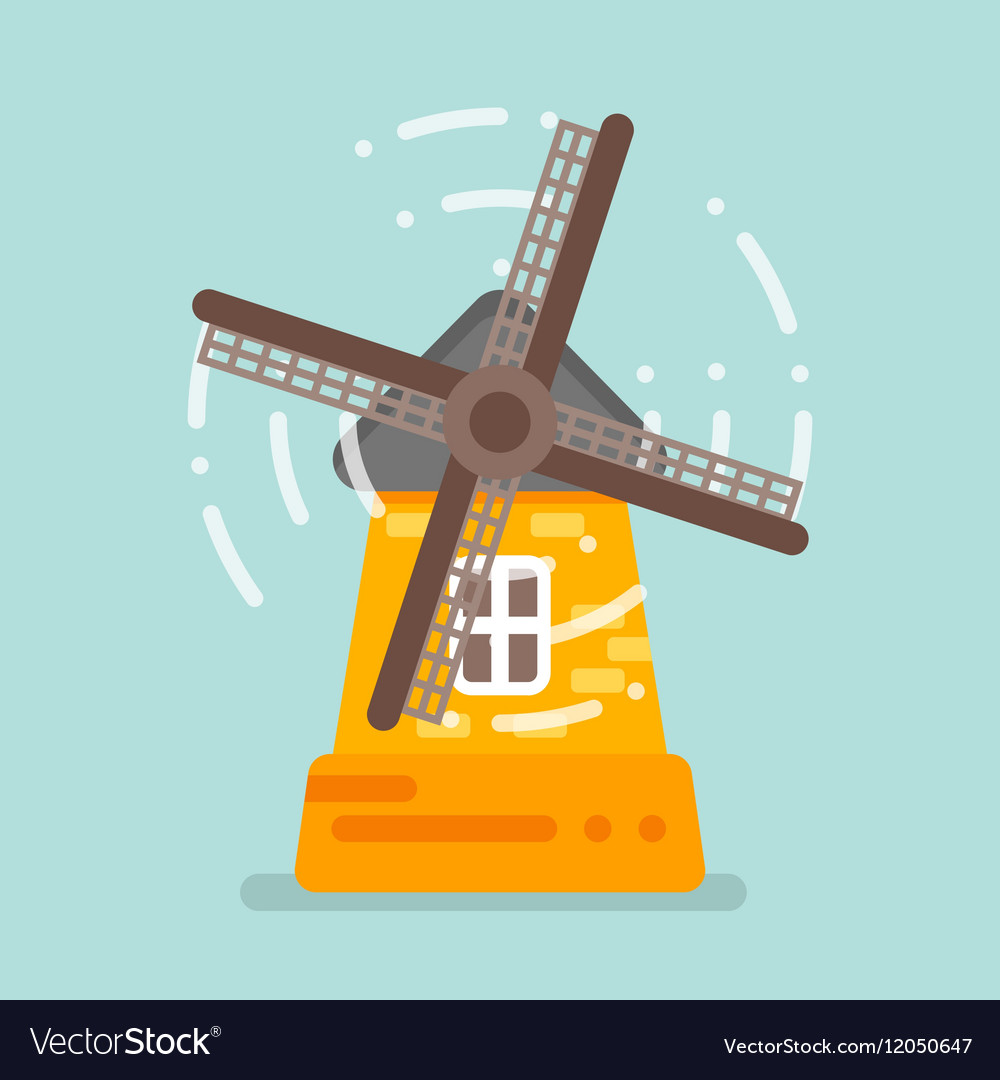 Flat style of mill Isolated on blue background