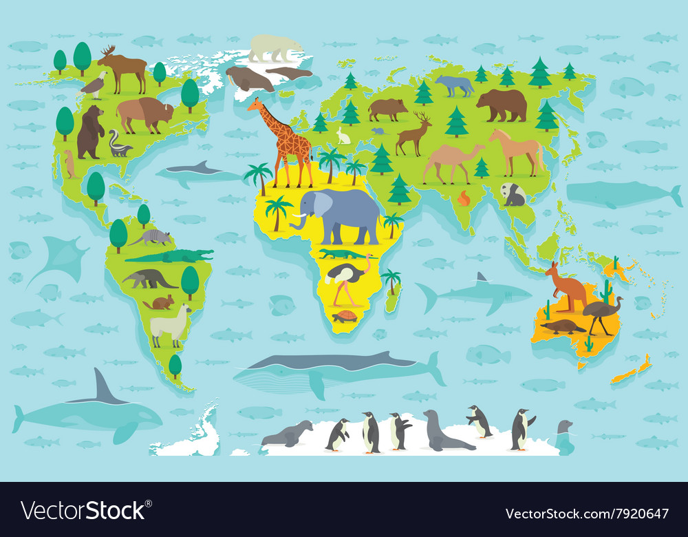 Funny cartoon world map Royalty Free Vector Image