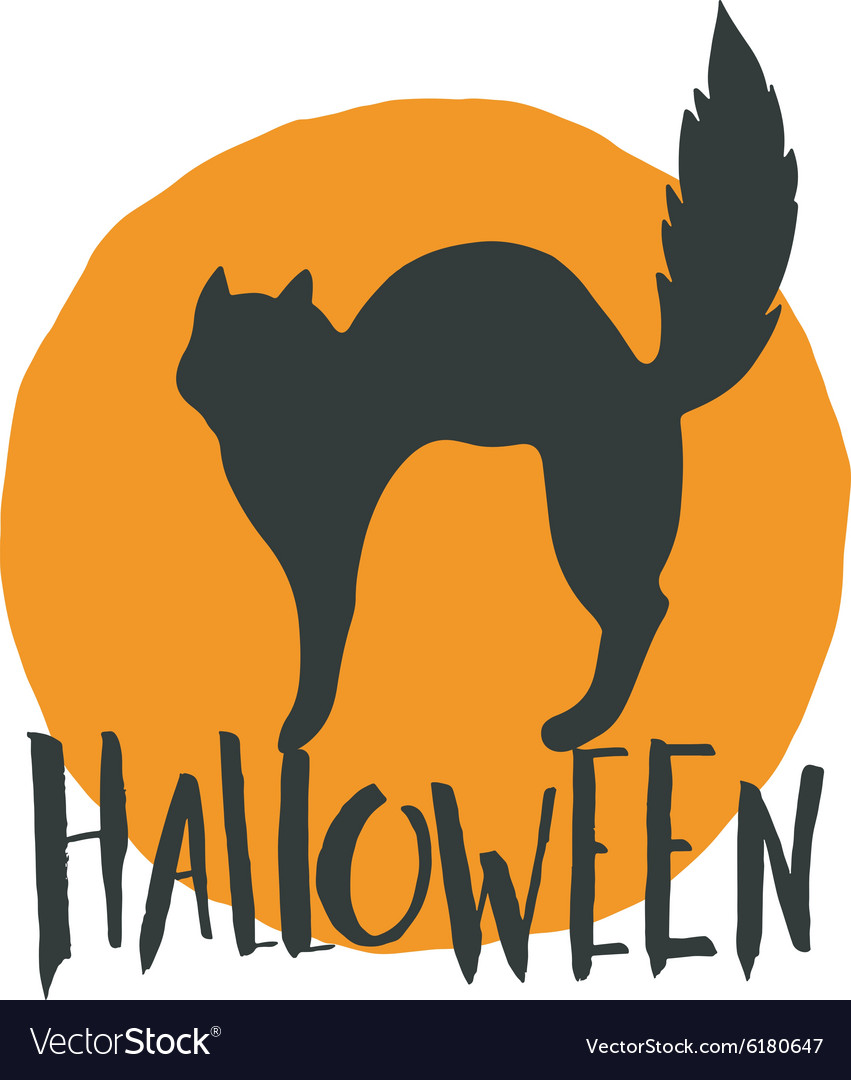 Happy halloween emblem with a black cat and hand