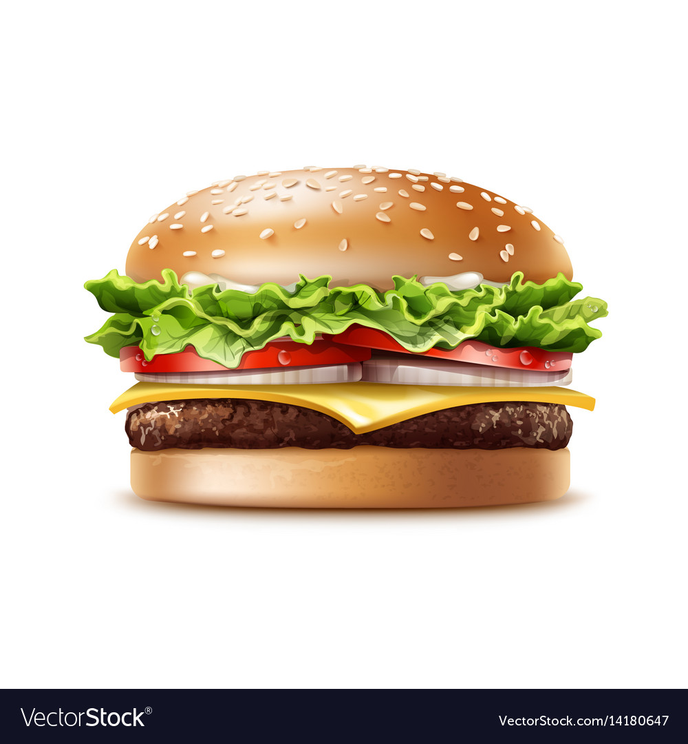 Realistic hamburger fast food vector image