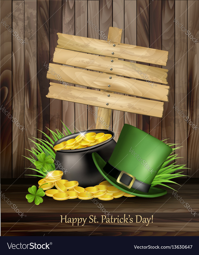 Saint patricks day background with a green hat
