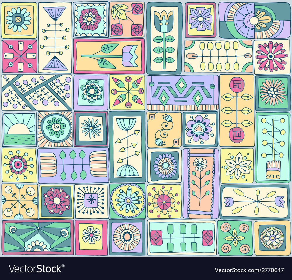 Seamless pattern witth doodle flowers and hearts