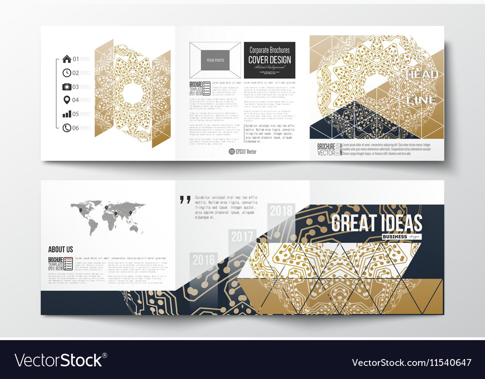 Set of tri-fold brochures square design templates vector image