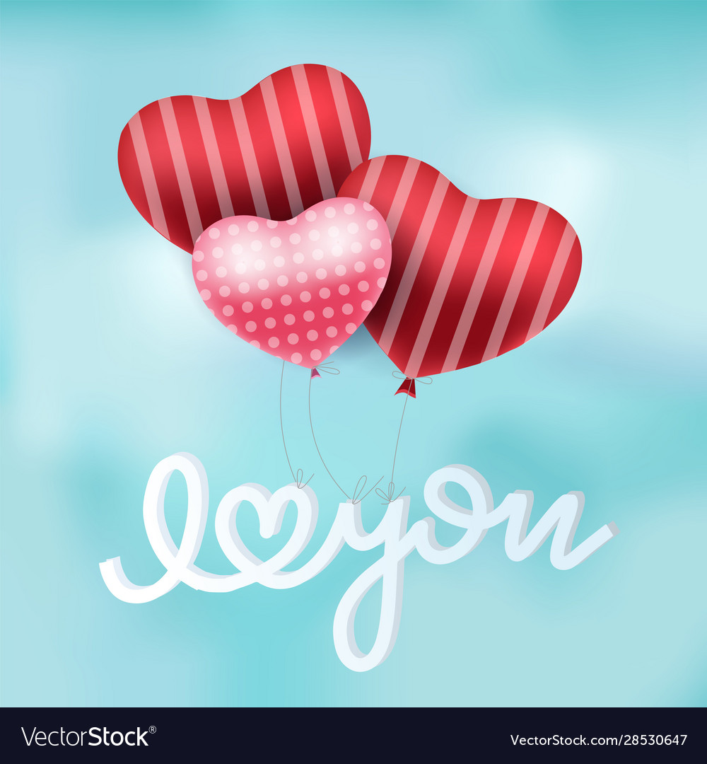 Valentines red heart balloons poster design vector