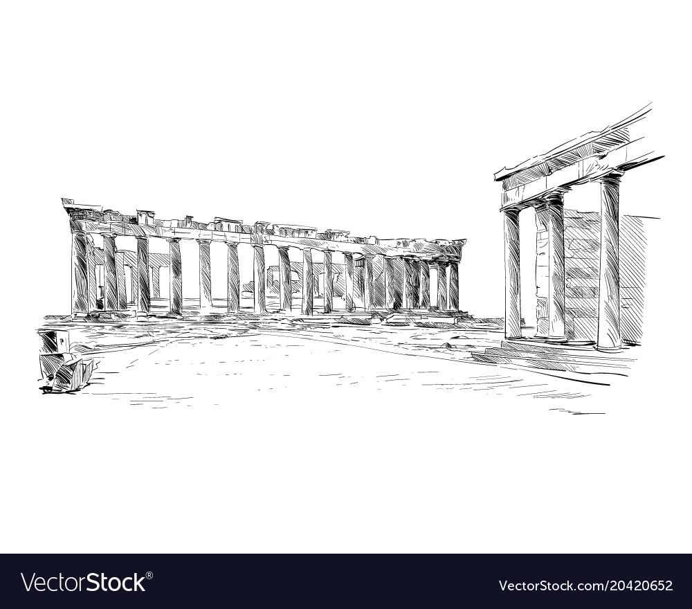 Acropolis of athens the parthenon athens greece vector image