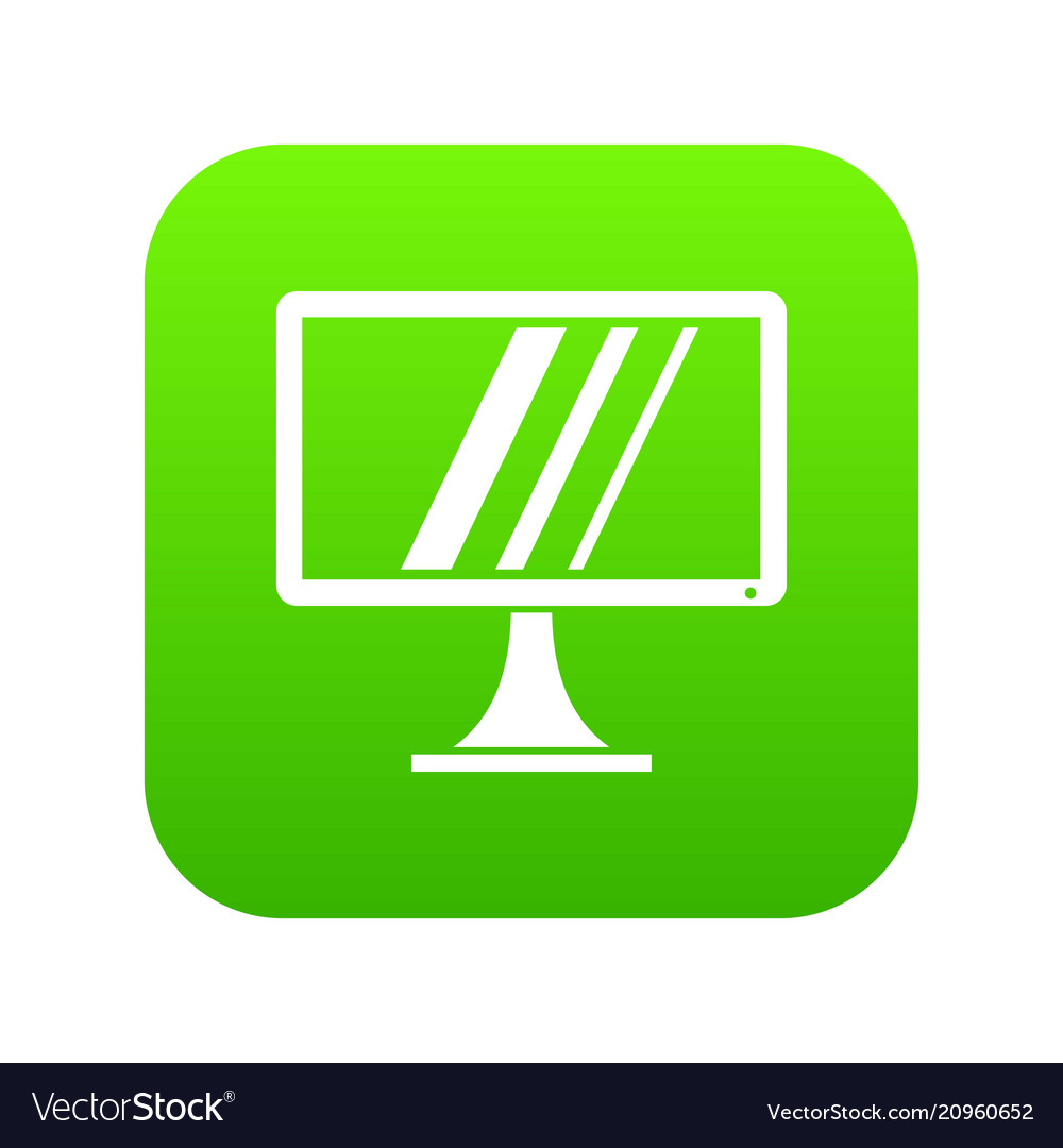 Computer monitor icon digital green