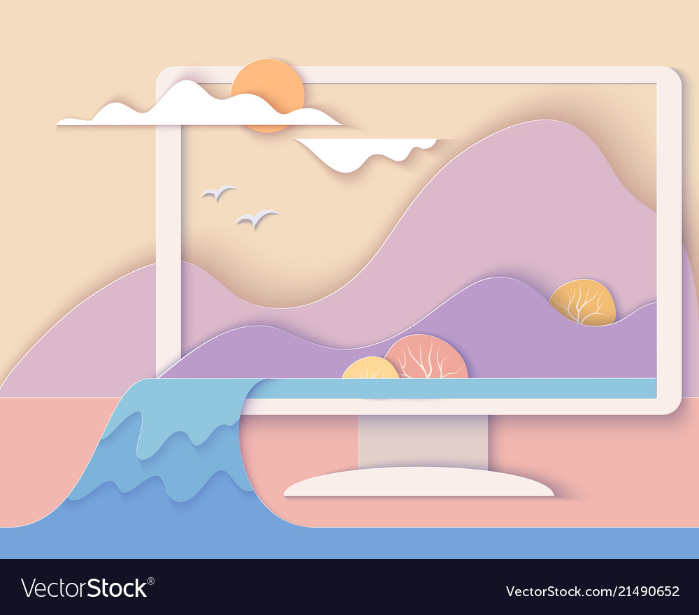 Computer screen with landscape