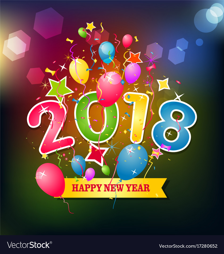 Happy new year 2018 greeting card royalty free vector image happy new year 2018 greeting card vector image m4hsunfo