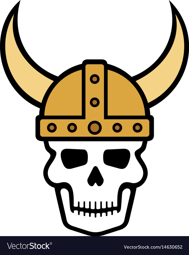 Human skull and viking helmet