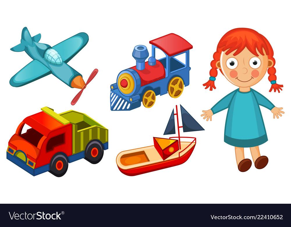 Kids toys isolated on white background