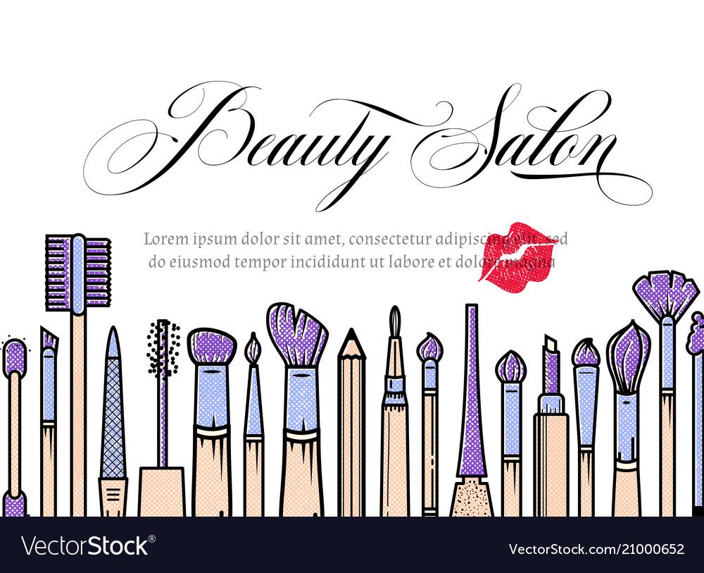 Makeup Artist Banner Beauty Salon Background Vector Image
