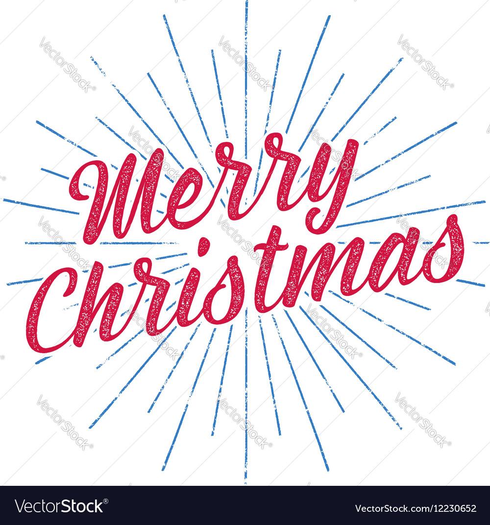 Merry Christmas typography label Retro photo vector image
