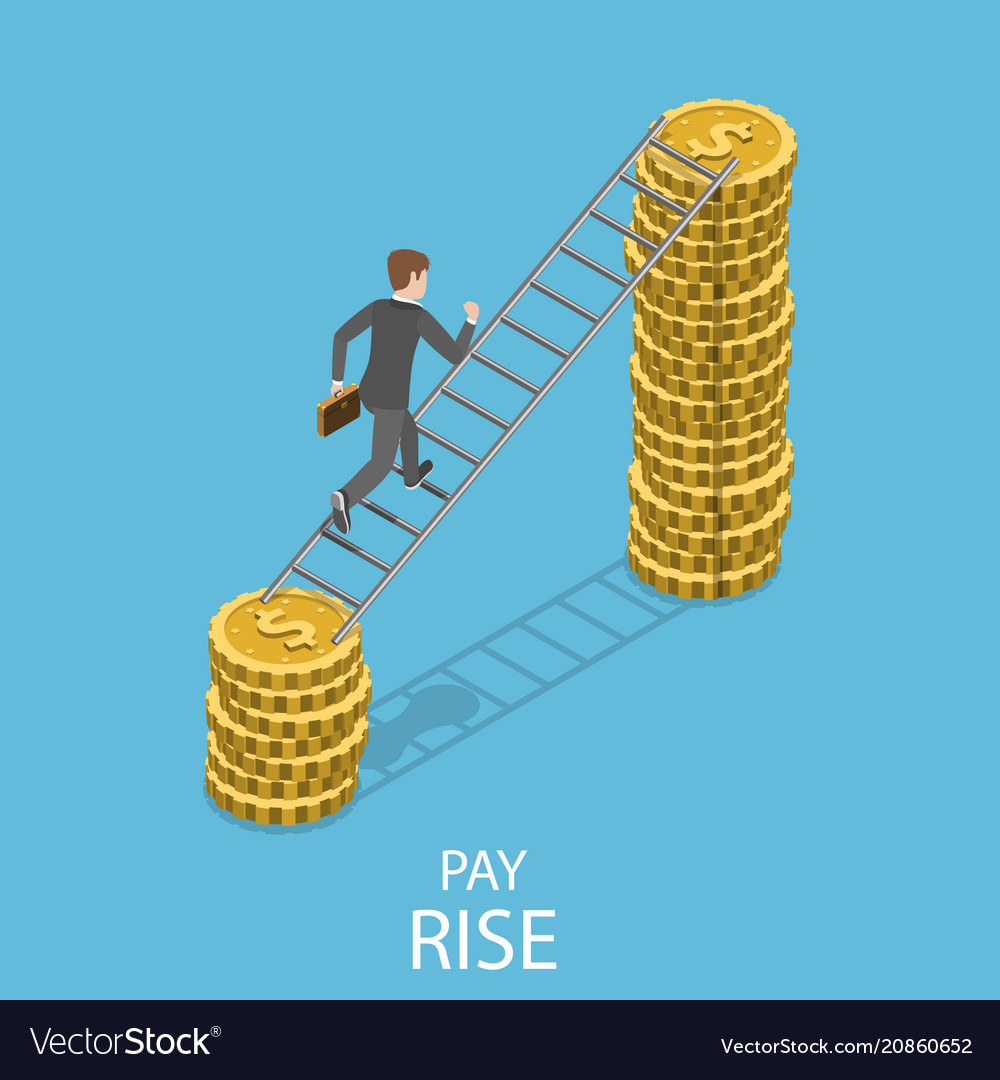Pay rise flat isometric concept