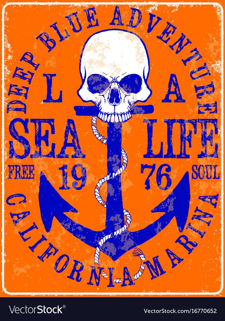 Sailor skull t shirt graphic design