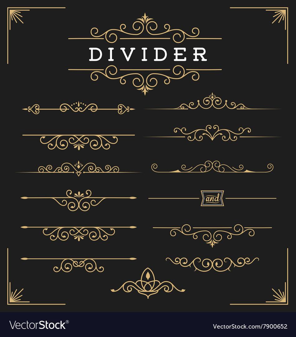 Set horizontal flourishes divider