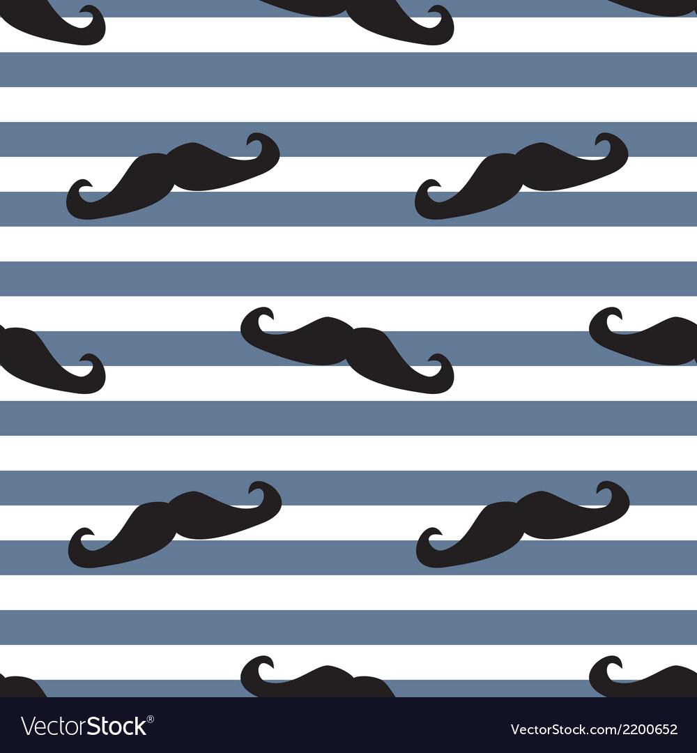 Tile moustache sailor blue white background vector image