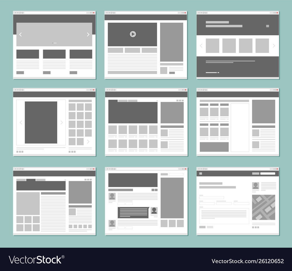 Web pages layout internet browser windows with