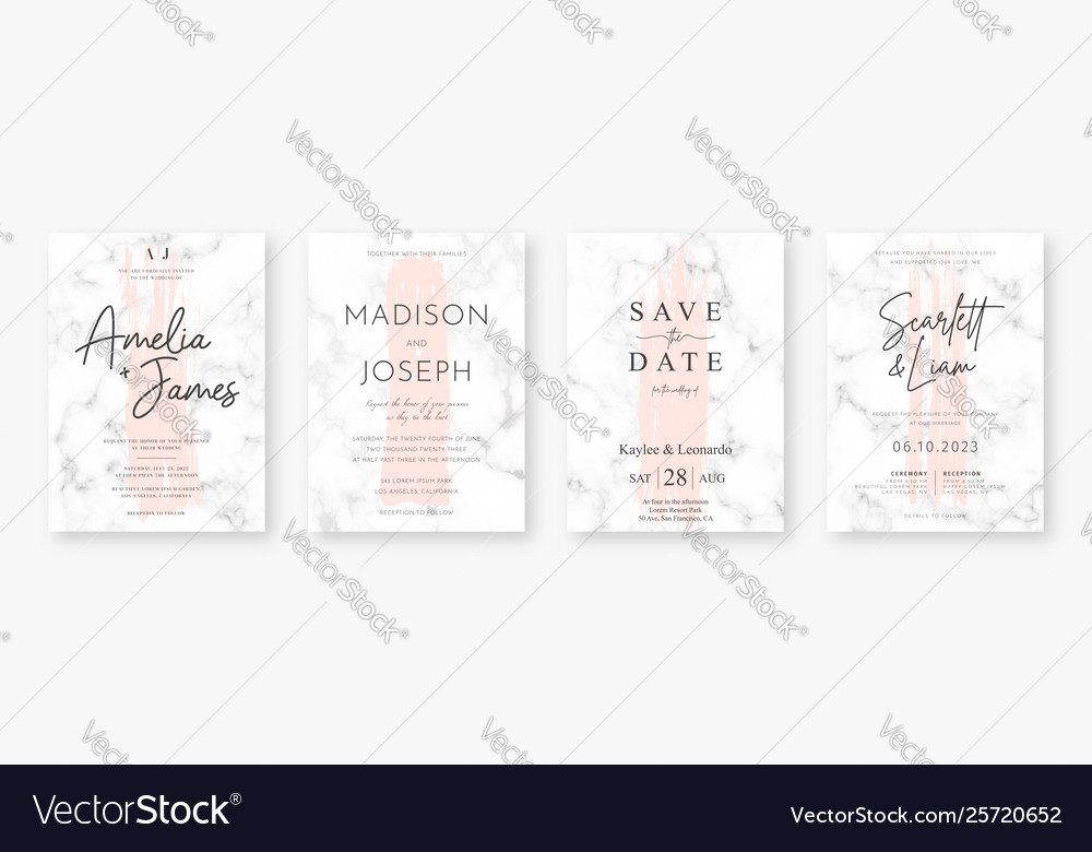Wedding card design with pink brush strokes and