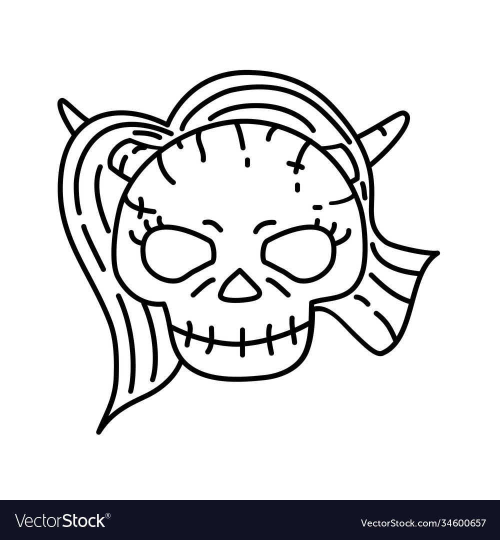 Devil woman icon doodle hand drawn or black