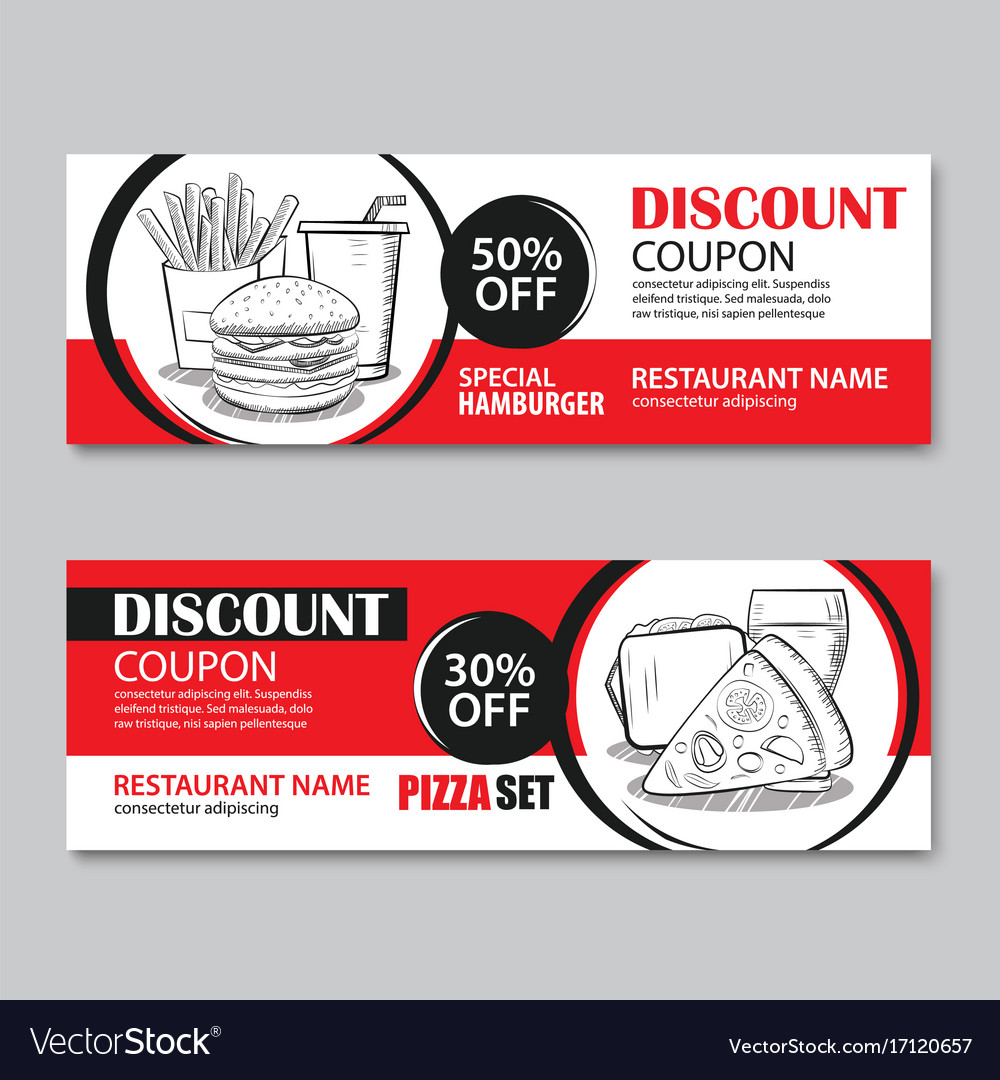 fast food gift voucher and coupon sale discount vector image