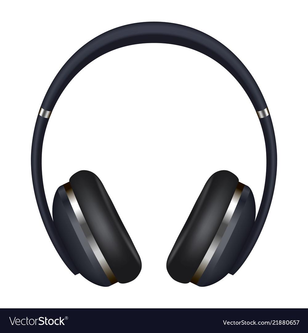 Headphones icon realistic style