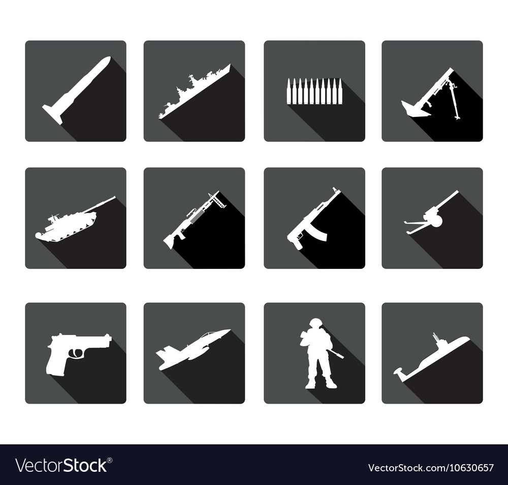 Icons set of black and white silhouettes of armed