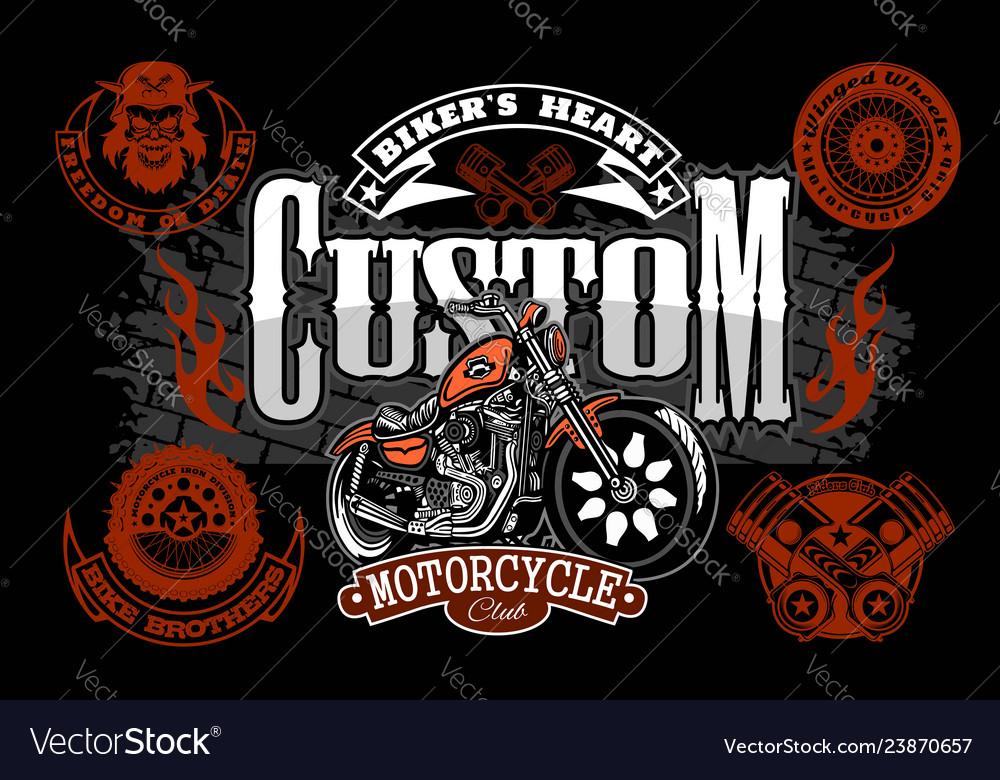 Motorcycle chopper logo vintage garage