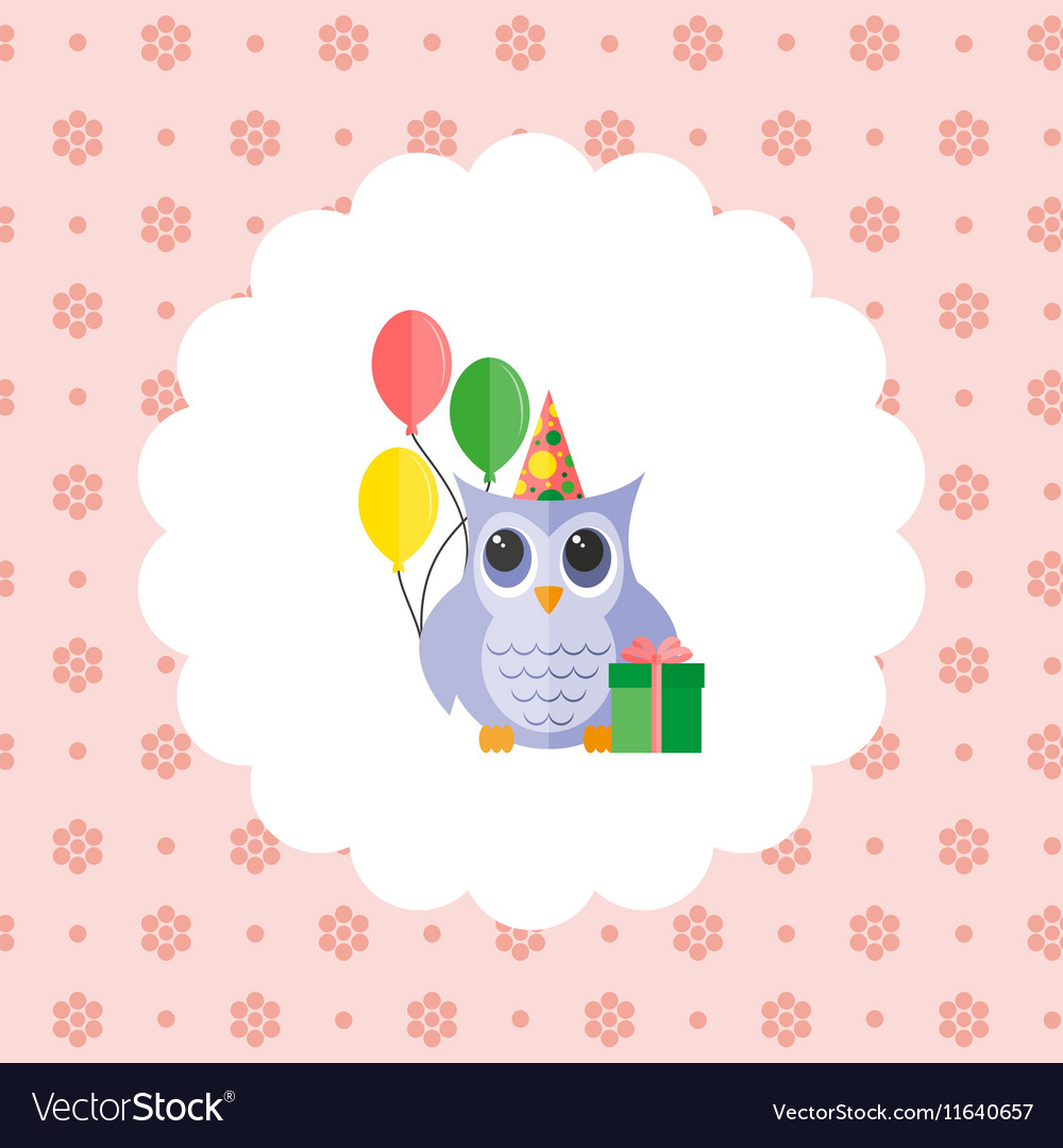Owl in a cap with balloons and a gift vector image