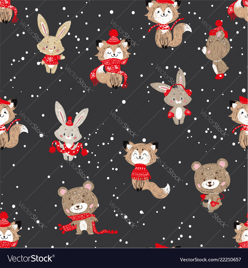 Seamless pattern with cute bunny foxes and bear