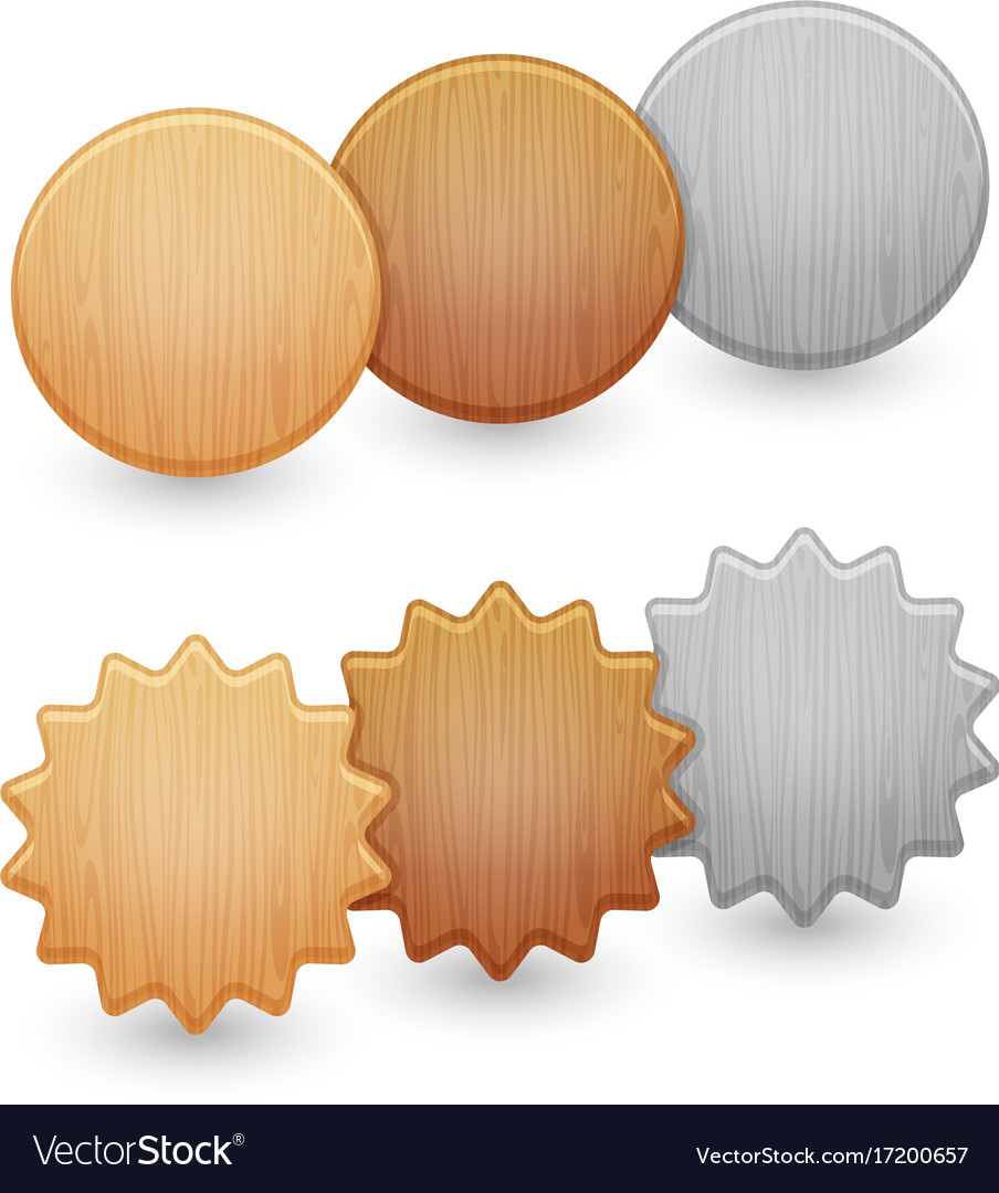 Set of wood buttons isolated on white background