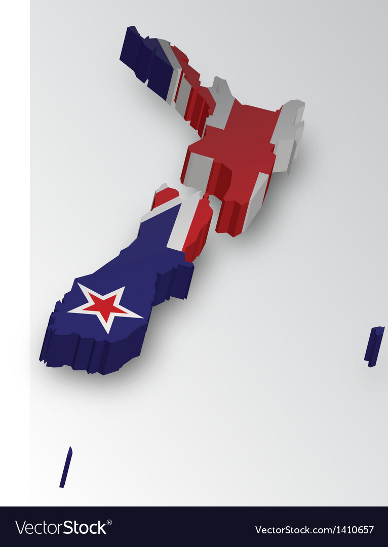Three dimensional map of New Zealand in flag color vector image