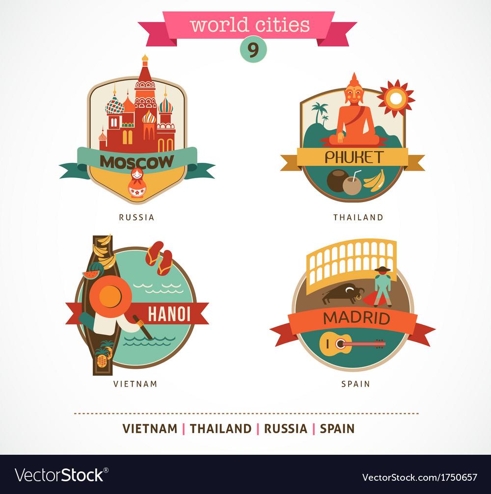 World Cities labels - Moscow Phuket Madrid Hanoi vector image