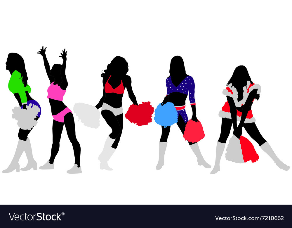 Cheerleaders vs vector image