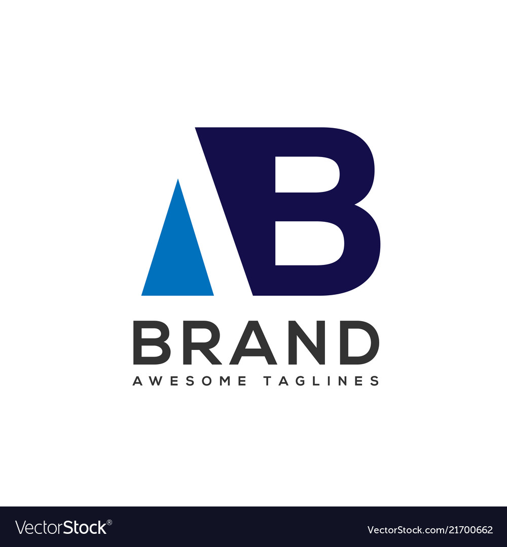 Creative letter ab logo design black and white