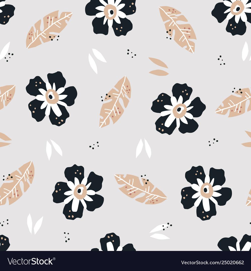 Flowers flat hand drawn seamless pattern