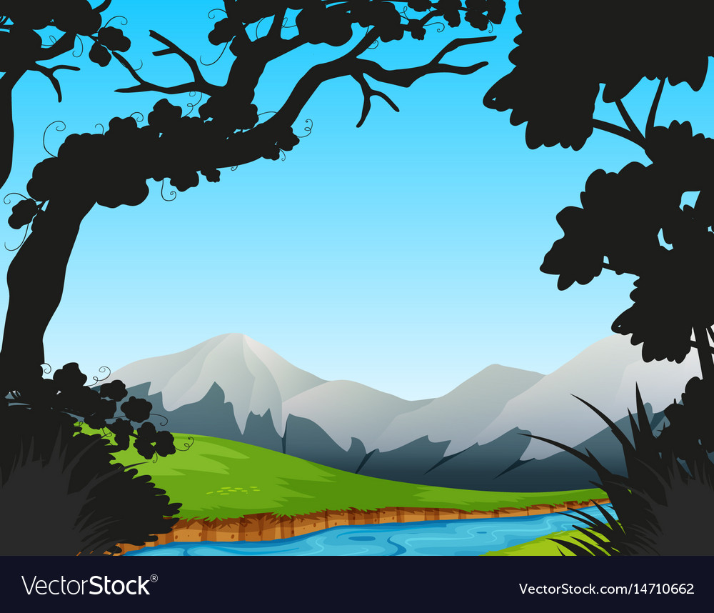 Forest scene with river and mountains