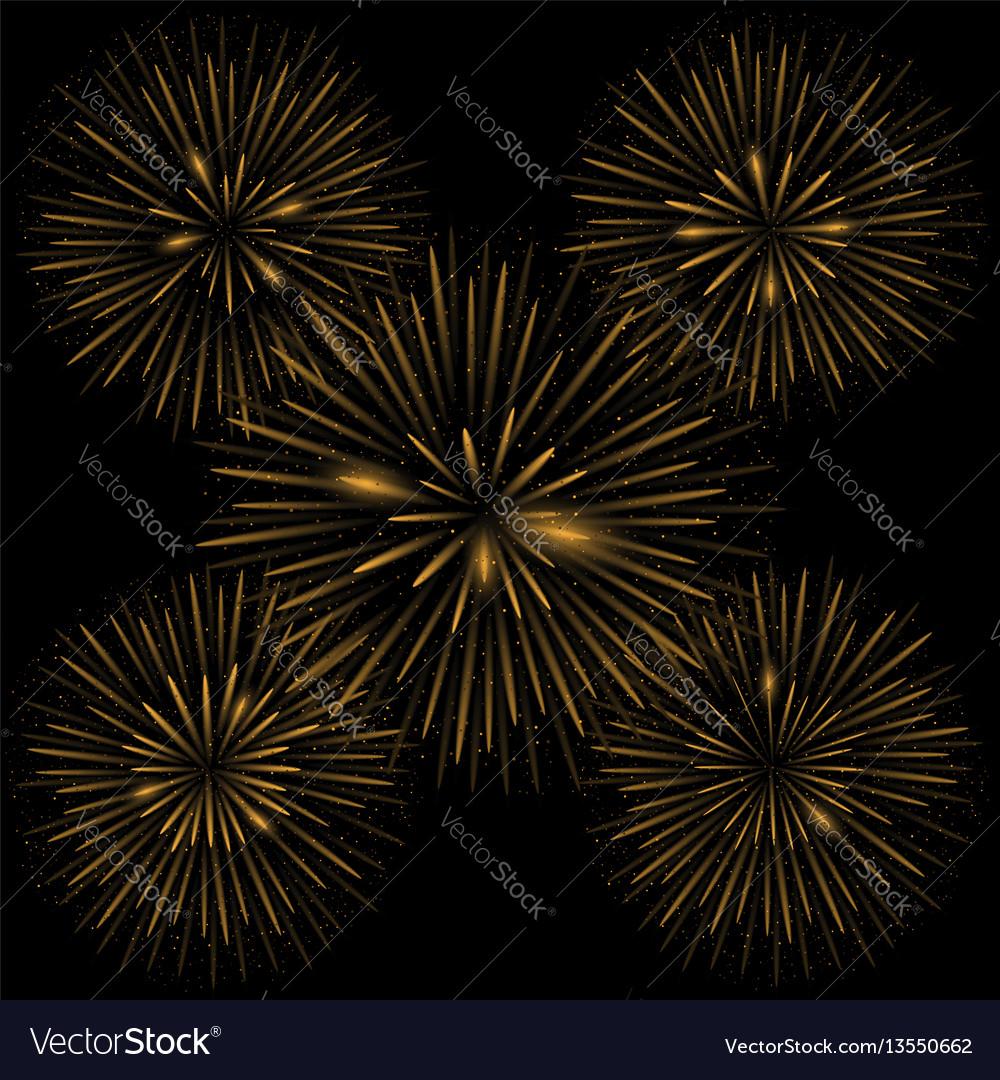 Golden realistic fireworks