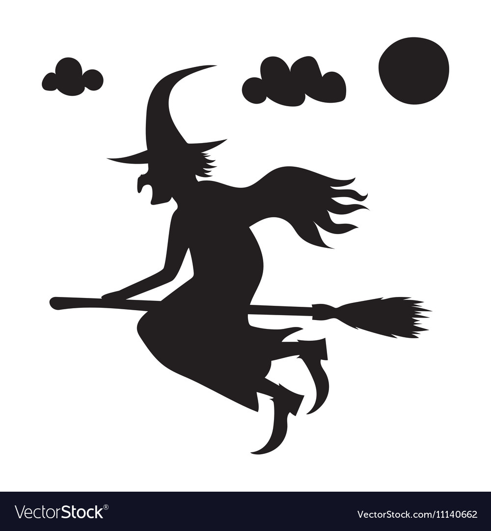 He scary witch flying on a broomstick