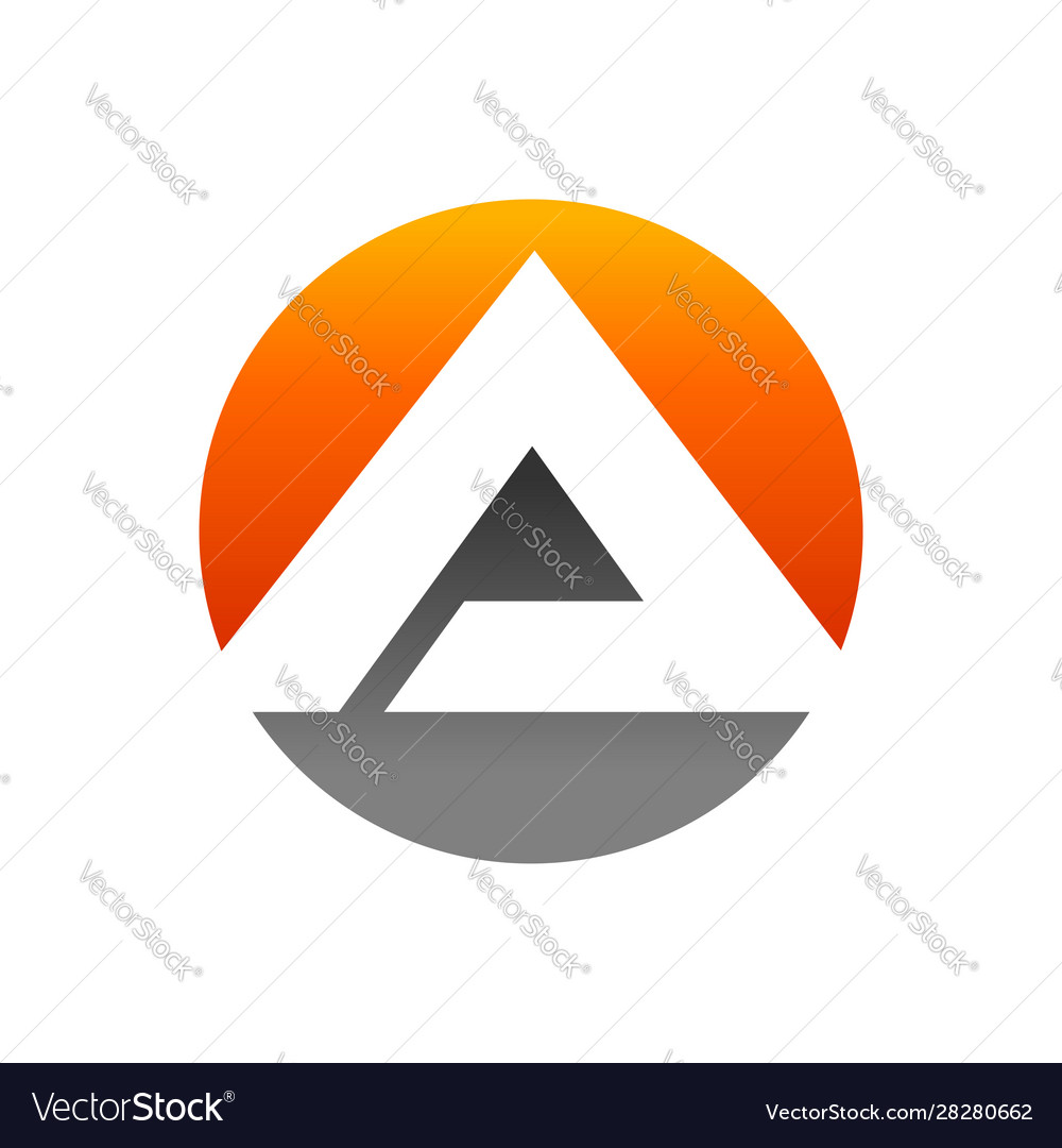Initial a lettermark pyramid in circle icon design