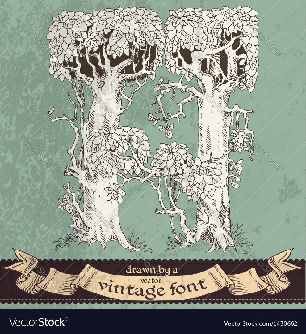 Magic grunge forest hand drawn by vintage font - H