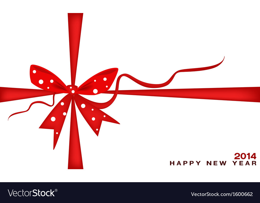 New Year Gift Card With Red Ribbon Royalty Free Vector Image