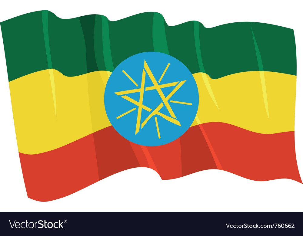 Political waving flag of ethiopia vector image