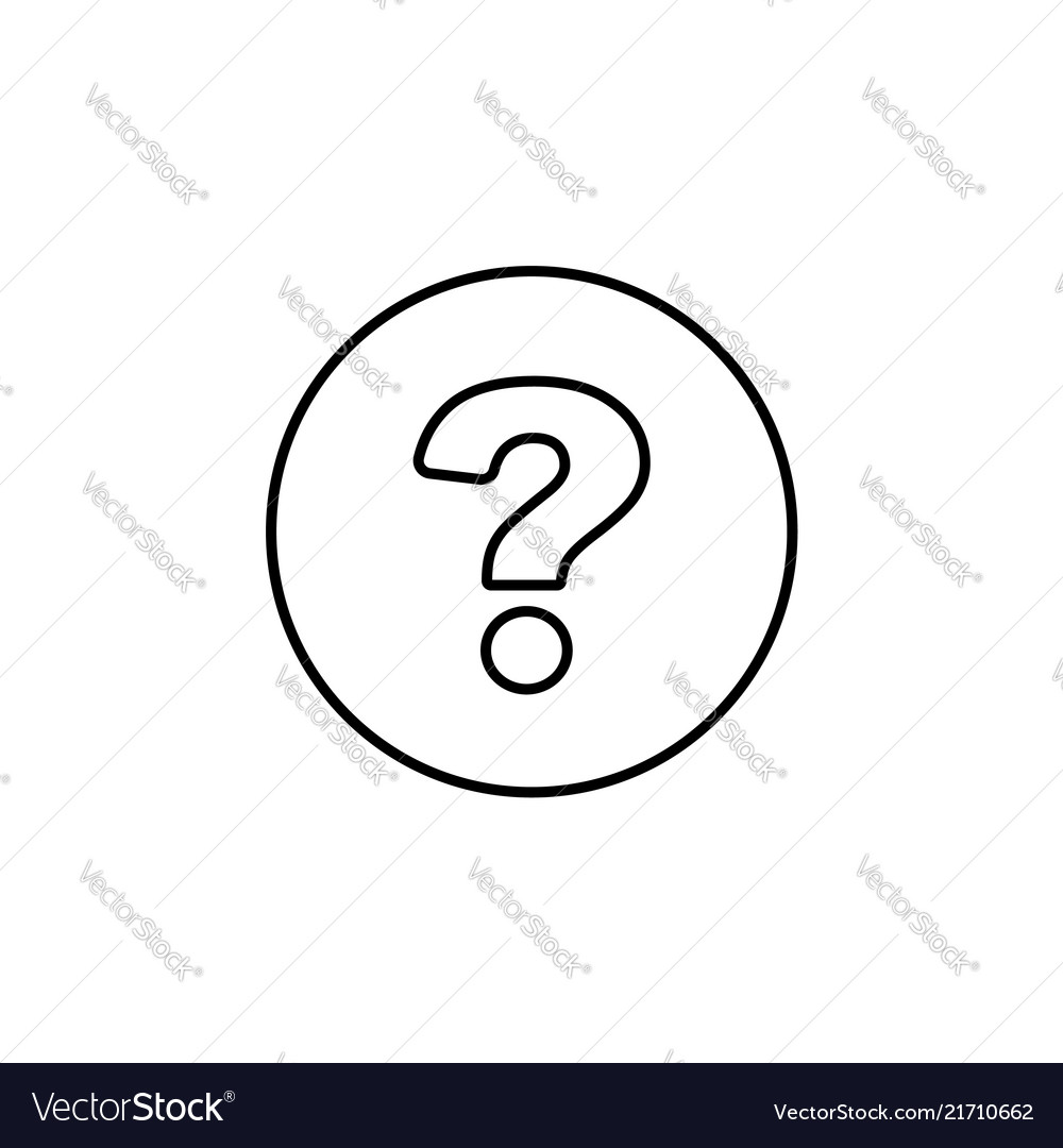 Question mark line icon black on white background