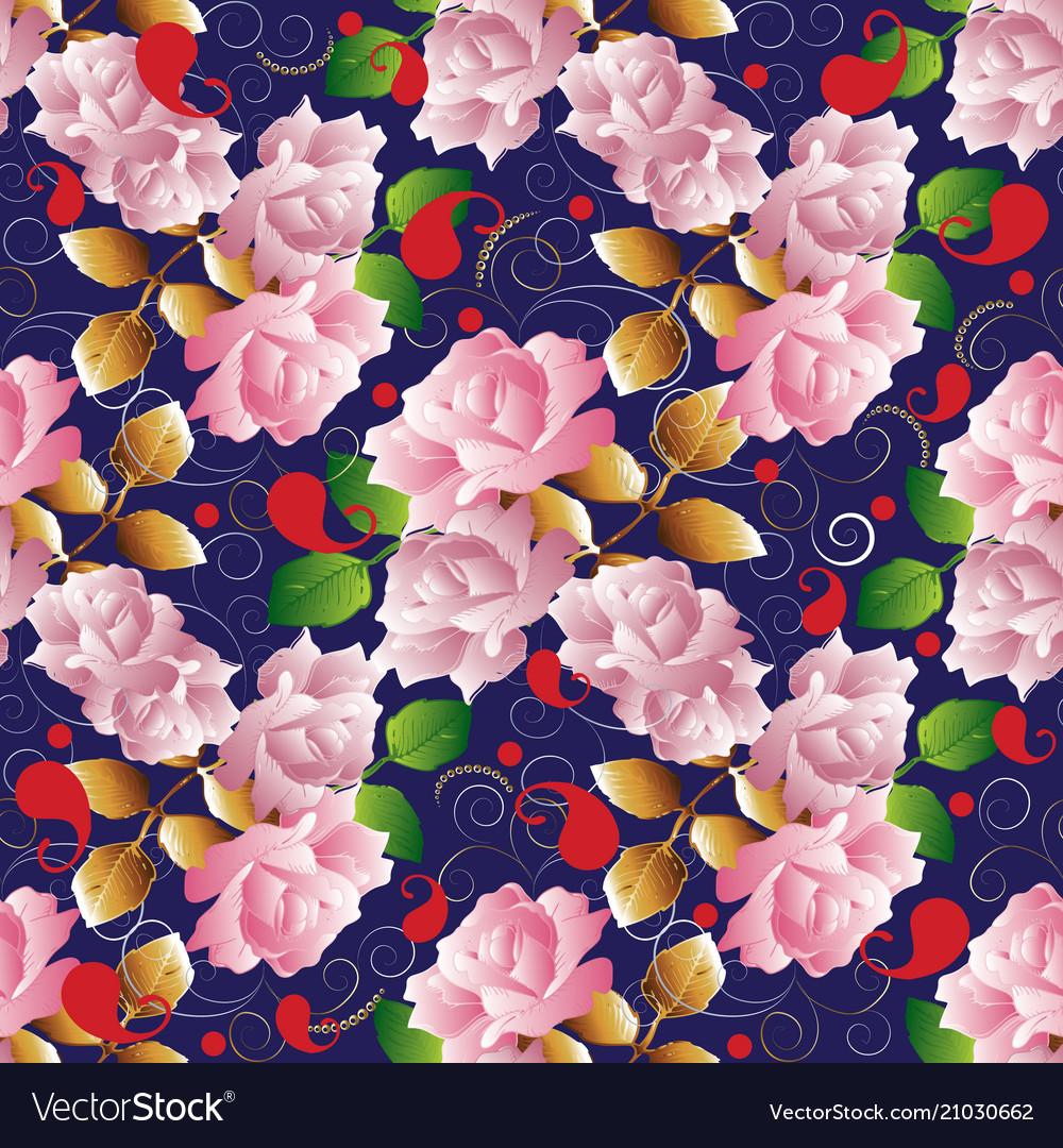 Roses seamless pattern floral dark blue