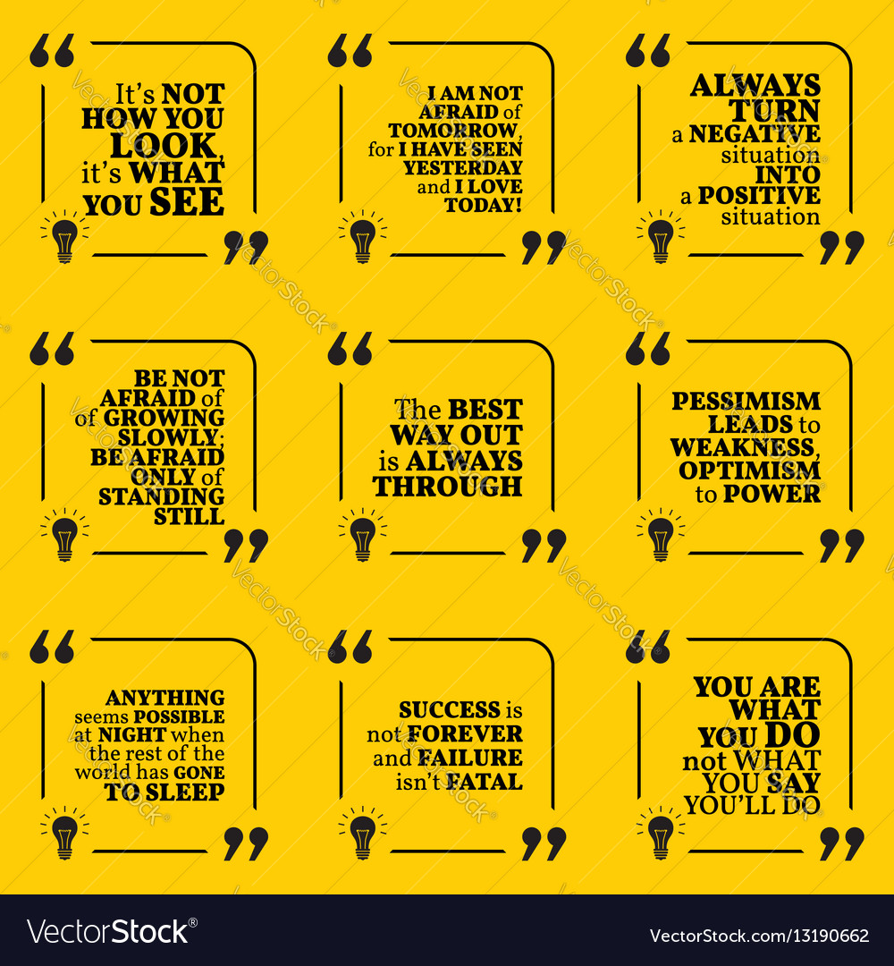 set of motivational quotes about positive thinking