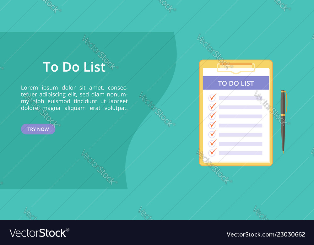 Todo list on clipboard with pen green web template