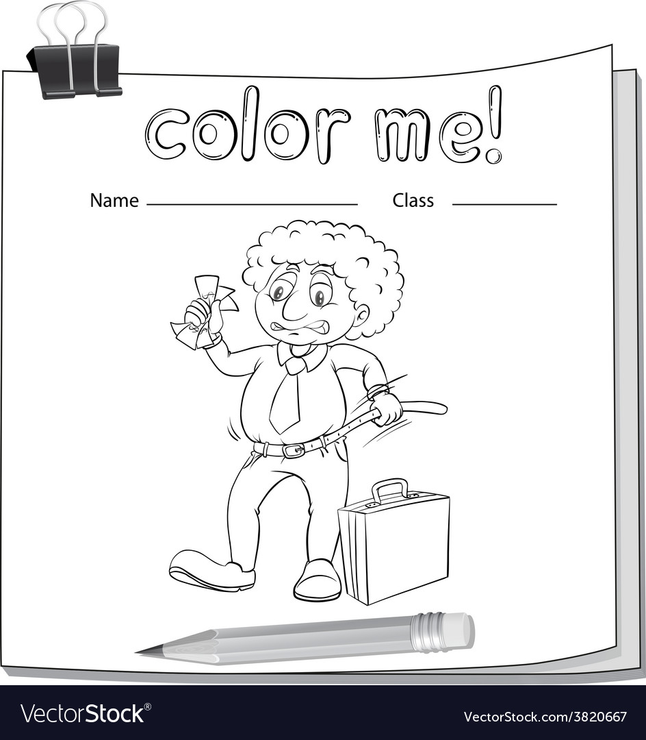 A color me worksheet with a man