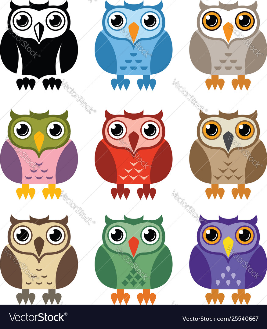 Black and white and colorful owl icons