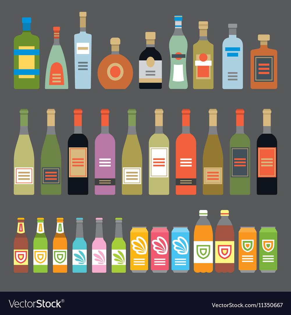 Flat Icons Alcoholic Beverages